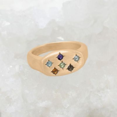 Constellation ring handcrafted in 14k yellow gold set with birthstones and crystal gemstones