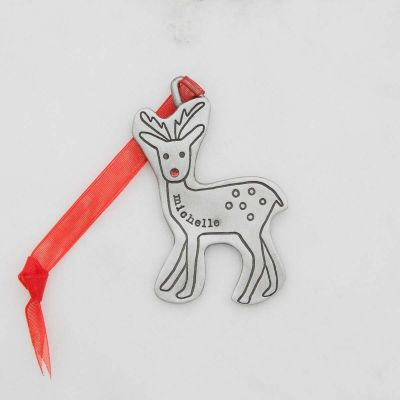 my reindeer ornament hand-molded and cast in fine pewter customizable with up to 8 characters with a special year, name, or word