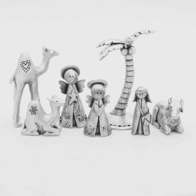 nativity add on figurines including camels, angels, palm tree, drummer boy and ox