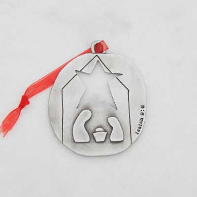 nativity ornament hand-molded and cast in fine pewter personalized with a special name, phrase or date
