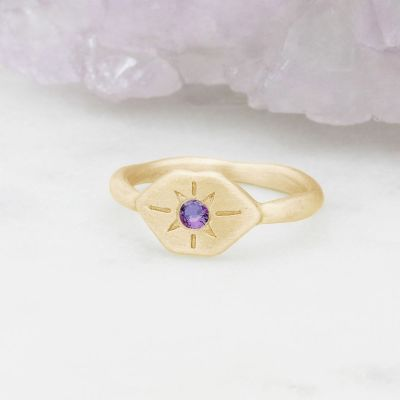 Nostalgia ring hand-molded and cast in 10k yellow gold set with a 3mm birthstone or diamond