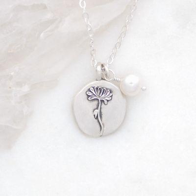 November Birth Flower Necklace {Sterling Silver}