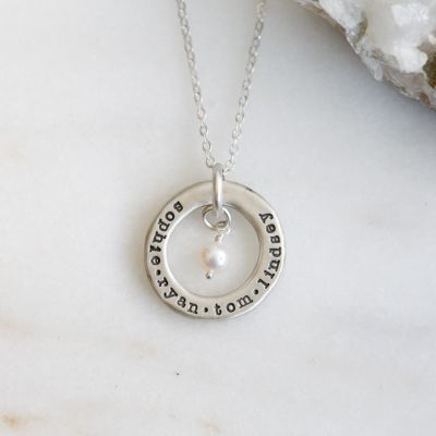 open circle pearl necklace {sterling silver}