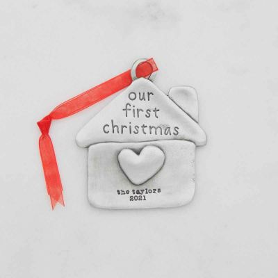 our first Christmas ornament hand-molded and cast in fine pewter and personalized with up to 2 lines of a meaningful message
