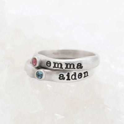 Personalized passage ring handcrafted in sterling silver with your choice of birthstone