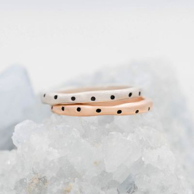 Polka dots stacking ring handcrafted in sterling silver and stackable with other mix and match stacking rings