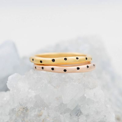 Polka dots stacking ring handcrafted in yellow gold plated sterling silver and stackable with other mix and match stacking rings