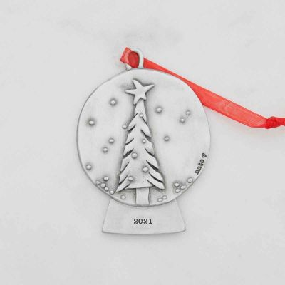 snow globe Christmas tree ornament hand-molded and cast in fine pewter and customizable with a meaningful name, date or phrase