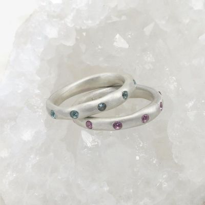 Stackable birthstone rings handcrafted in sterling silver with 2mm birthstones