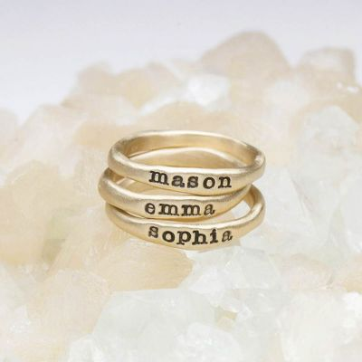 Personalized 10k yellow gold stackable name rings