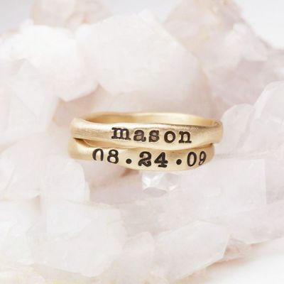 Personalized 14k yellow gold stackable name rings
