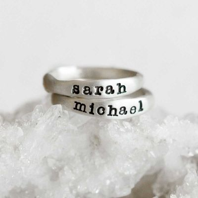 Personalized sterling silver stackable name rings