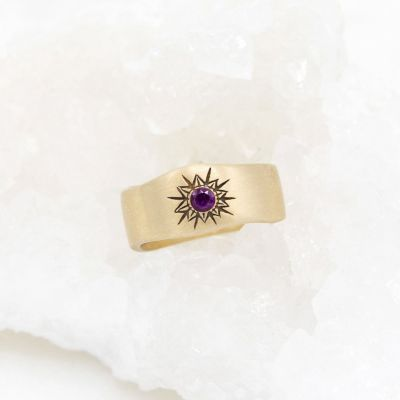 Sunburst birthstone ring handcrafted in 14k yellow gold and set with a birthstone of your choice