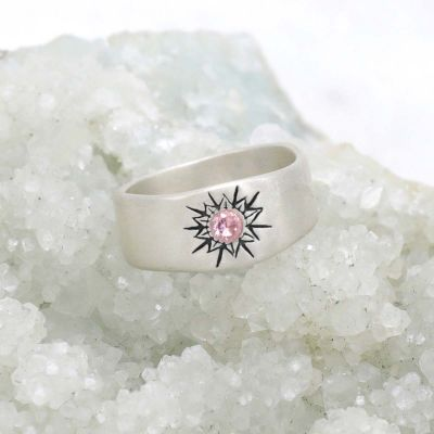 Sunburst birthstone ring handcrafted in sterling silver and set with a birthstone of your choice