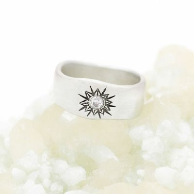 10k white gold sunburst diamond ring with a 3mm conflict free diamond