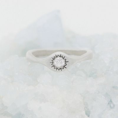 Sunburst stacking ring handcrafted in sterling silver and set with a 3mm bright genuine diamond