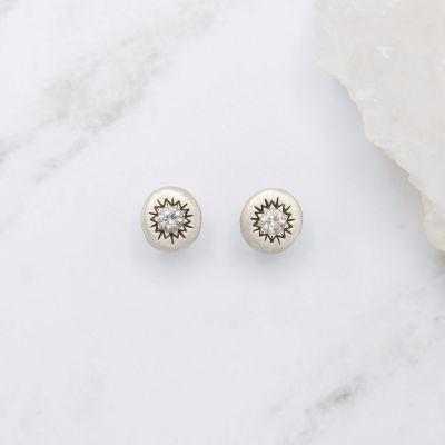 Sunburst Stud Earrings {Sterling Silver}