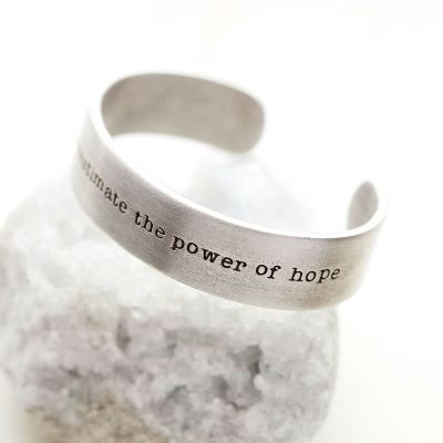 Handcrafted Pewter the power of hope cuff