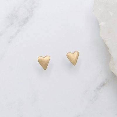 14k yellow gold tiny heart stud earrings with a matte brushed finish