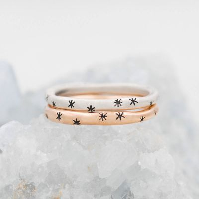 Tiny sparkles stacking ring handcrafted in rose gold plated sterling silver with a satin finish and stackable with other mix and match rings