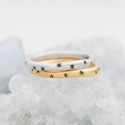Tiny sparkles stacking ring handcrafted in yellow gold plated sterling silver with a satin finish and stackable with other mix and match rings