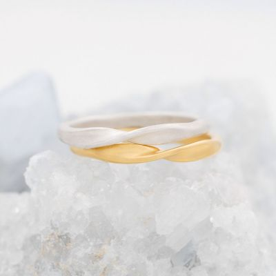 Twists and turns stacking ring handcrafted in sterling silver with a satin finish stackable with other mix and match rings