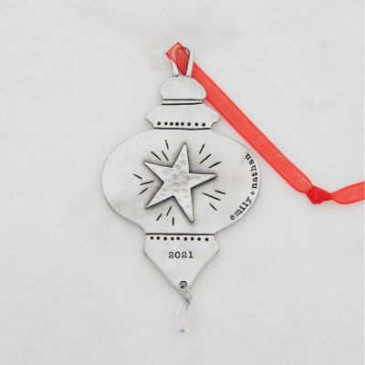 vintage glass ornament hand-molded and cast in fine pewter and customizable with a special name, phrase or date