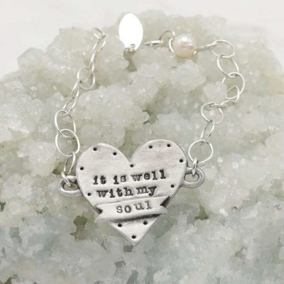 Handcrafted, engraved well with my soul pewter bracelet