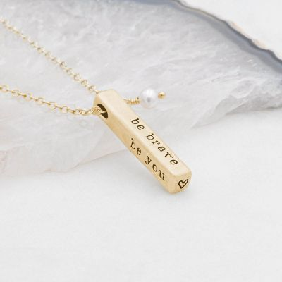14k yellow gold what matters most necklace strung on a gold link chain with a freshwater pearl with 4 customizable sides