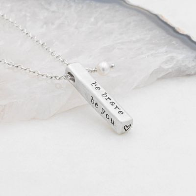 what matters most sterling silver necklace with 4 customizable sides and strung with a freshwater pearl