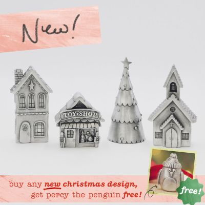 Winter Wonderland Village Set includes house, toy shop, church, and Christmas tree