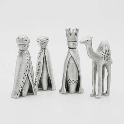 three wisemen and camel nativity figurine set handcrafted and cast in fine pewter