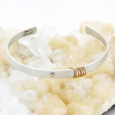 You have my heart cuff sterling silver and 10k gold