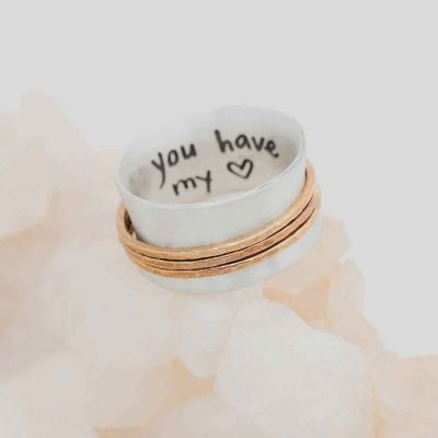 You Have My Heart Spinner Ring {Sterling Silver & Bronze}
