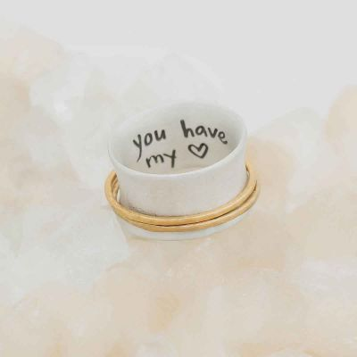 you have my heart spinner ring {sterling silver & 10k gold} on geode