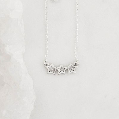 sterling silver your spark necklace with 1.5mm cubic zirconia in each star and strung on silver link chain