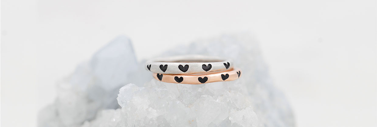 Tiny Hearts Stacking Rings