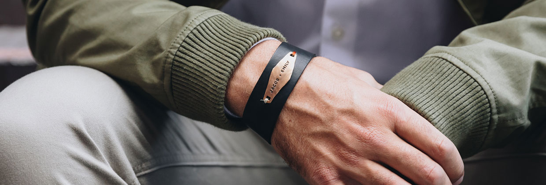 Black Identity Leather Cuff