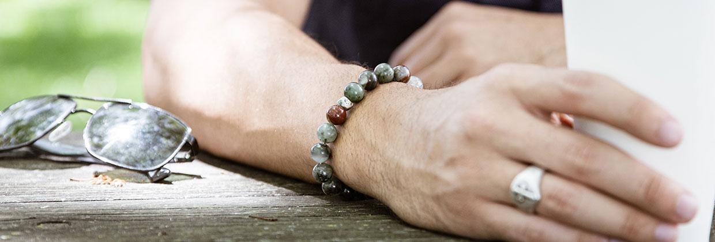 Mens Blood Stone Beaded Bracelet