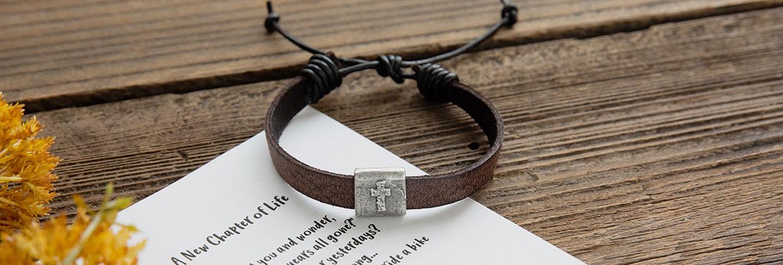 Equitable Brown Leather Cross Bracelet for Him